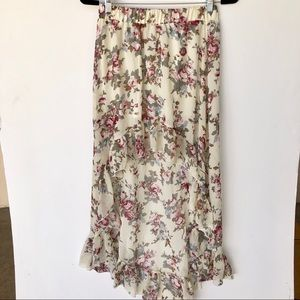 Foreign Exchange Chiffon Floral High Low Skirt